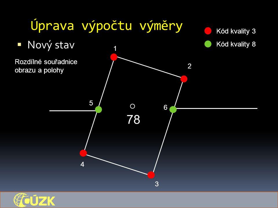 Úprava výpočtu výměry  Nový stav 78 1 5 6 4 3 2 Kód kvality 3 Kód kvality 8 Rozdílné souřadnice obrazu a polohy