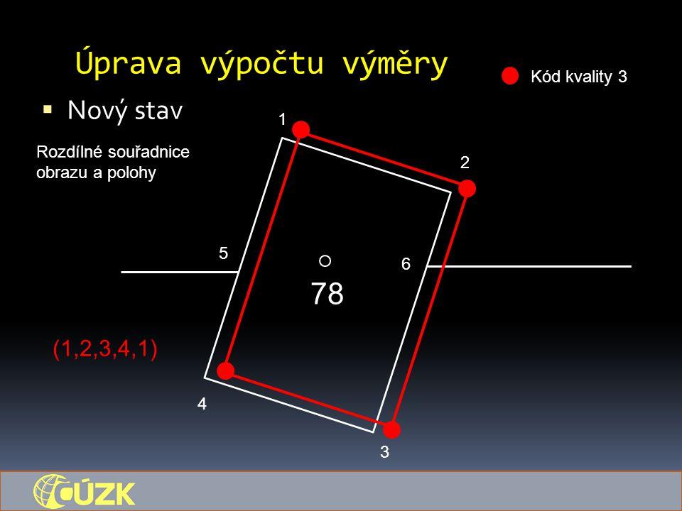 Úprava výpočtu výměry  Nový stav 78 1 5 6 4 3 2 Kód kvality 3 Rozdílné souřadnice obrazu a polohy (1,2,3,4,1)
