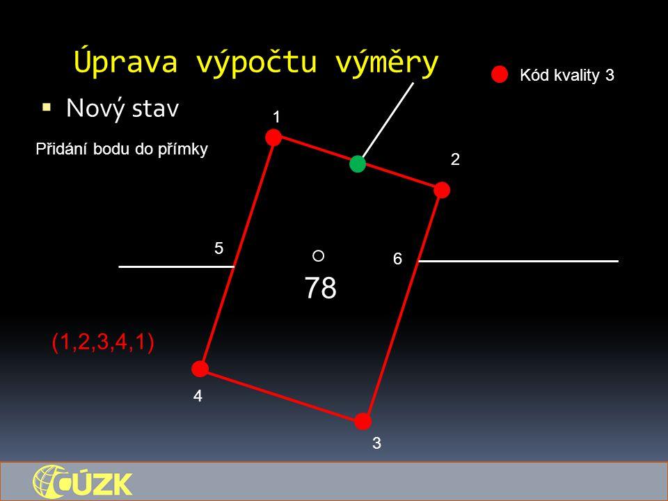 Úprava výpočtu výměry  Nový stav 78 1 5 6 4 3 2 Kód kvality 3 Přidání bodu do přímky (1,2,3,4,1)