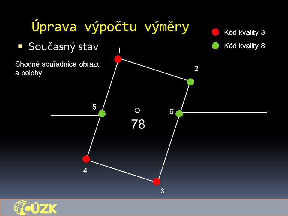 Úprava výpočtu výměry  Současný stav 78 1 5 6 4 3 2 Kód kvality 3 Kód kvality 8 Shodné souřadnice obrazu a polohy