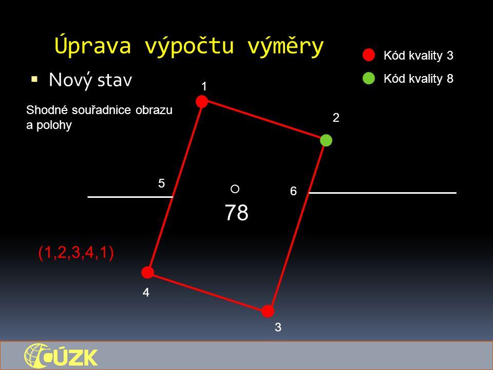 Úprava výpočtu výměry  Nový stav 78 1 5 6 4 3 2 Kód kvality 3 Kód kvality 8 Shodné souřadnice obrazu a polohy (1,2,3,4,1)