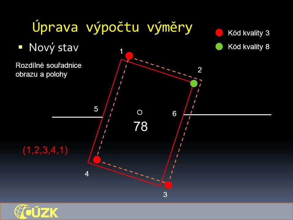 Úprava výpočtu výměry  Nový stav 78 1 5 6 4 3 2 Kód kvality 3 Kód kvality 8 Rozdílné souřadnice obrazu a polohy (1,2,3,4,1)