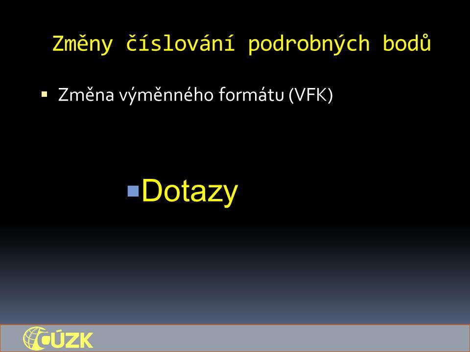 Změny číslování podrobných bodů  Změna výměnného formátu (VFK)  Dotazy