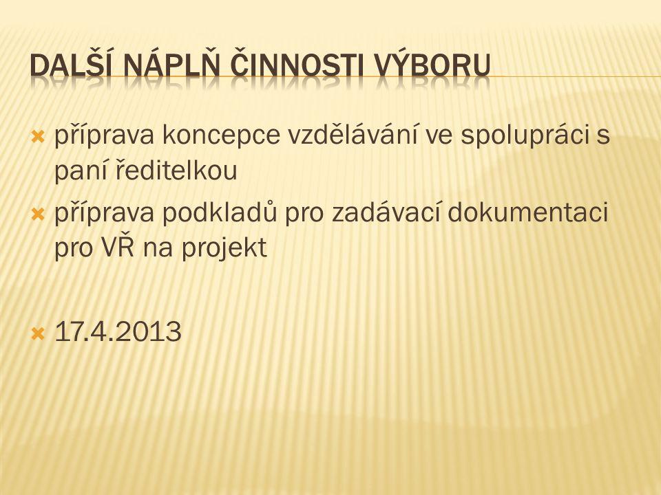  příprava koncepce vzdělávání ve spolupráci s paní ředitelkou  příprava podkladů pro zadávací dokumentaci pro VŘ na projekt  17.4.2013