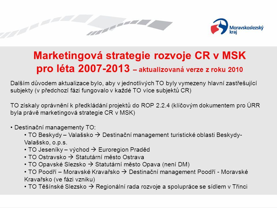 Marketingová strategie rozvoje CR v MSK pro léta 2007-2013 – aktualizovaná verze z roku 2010 Dalším důvodem aktualizace bylo, aby v jednotlivých TO by