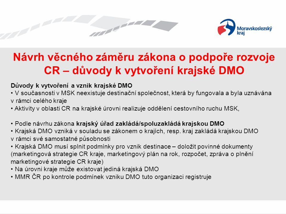 Návrh věcného záměru zákona o podpoře rozvoje CR – důvody k vytvoření krajské DMO Důvody k vytvoření a vznik krajské DMO • V současnosti v MSK neexist