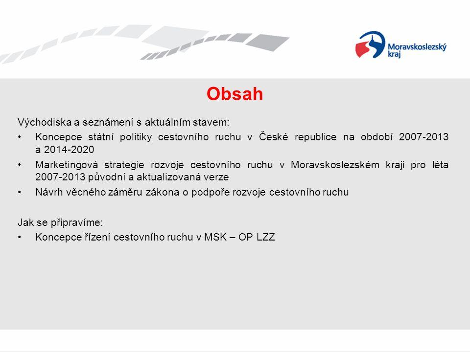 Návrh věcného záměru zákona o podpoře rozvoje CR • Od roku 2010 probíhá zpracování návrhu věcného záměru zákona o podpoře rozvoje cestovního ruchu • V rámci přípravy návrhu věcného záměru zákona o podpoře a řízení cestovního ruchu ČR byly čerpány především zkušenosti z Rakouska a částečně ze Slovenska • K nejvýznamnějším důvodům pro zavedení regulace v CR patří: • neprovázanost a nekoordinovanost politiky rozvoje CR • absence transparentního systému a vydefinování kompetencí a odpovědnosti • neexistence systému podpory jednotlivých úrovní řízení CR • hranice TO nejsou pevně vymezeny a nereflektují potenciál rozvoje CR • Termíny k návrhu dle MMR (informace ze dne 8.