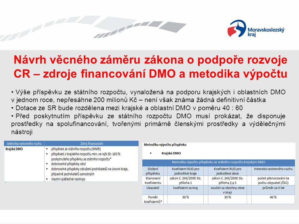 Návrh věcného záměru zákona o podpoře rozvoje CR – zdroje financování DMO a metodika výpočtu • Výše příspěvku ze státního rozpočtu, vynaložená na podp