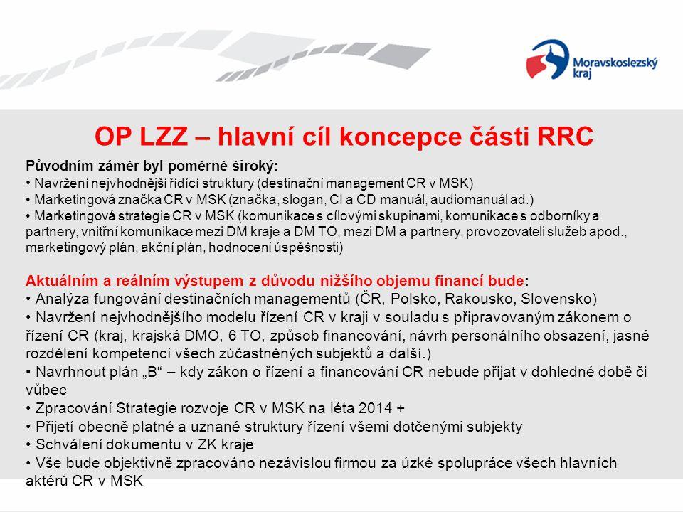 OP LZZ – hlavní cíl koncepce části RRC Původním záměr byl poměrně široký: • Navržení nejvhodnější řídící struktury (destinační management CR v MSK) •