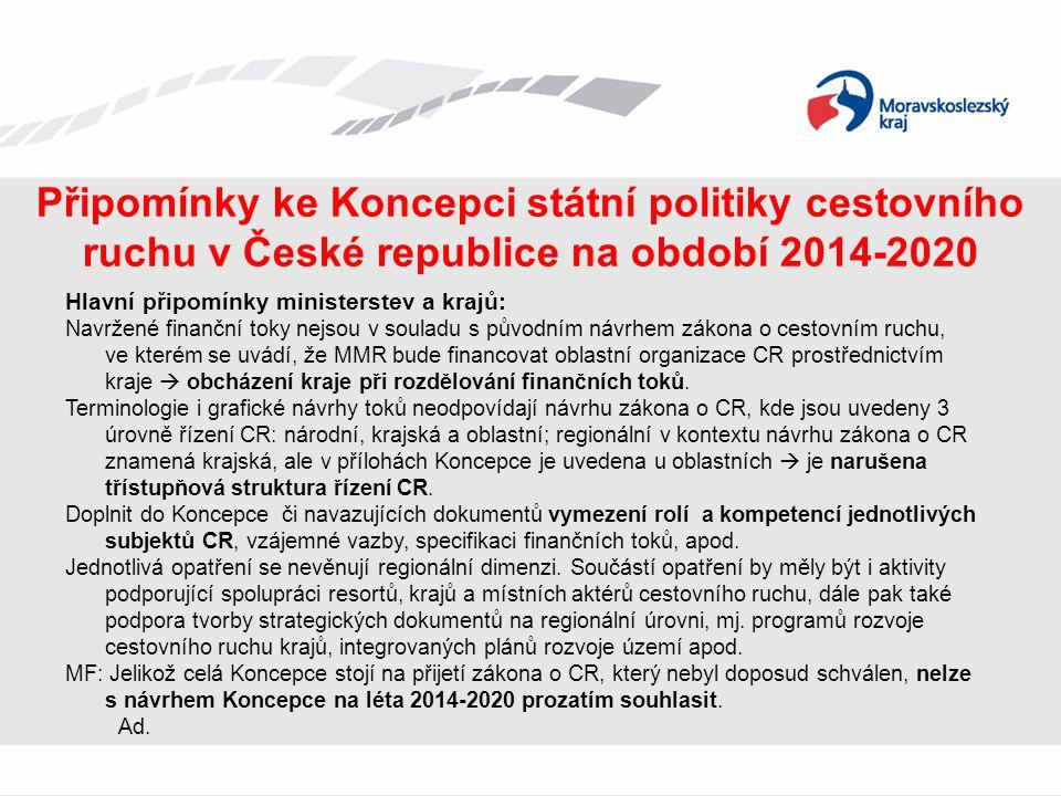 Připomínky ke Koncepci státní politiky cestovního ruchu v České republice na období 2014-2020 Hlavní připomínky ministerstev a krajů: Navržené finančn