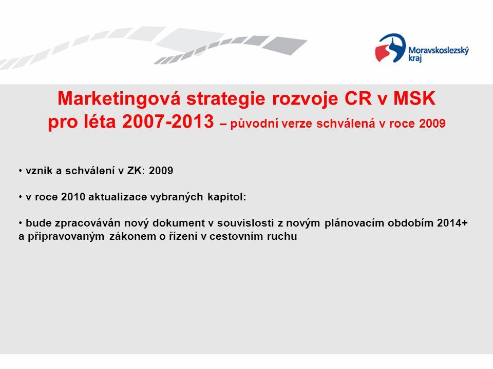 Marketingová strategie rozvoje CR v MSK pro léta 2007-2013 – původní verze schválená v roce 2009 • vznik a schválení v ZK: 2009 • v roce 2010 aktualiz