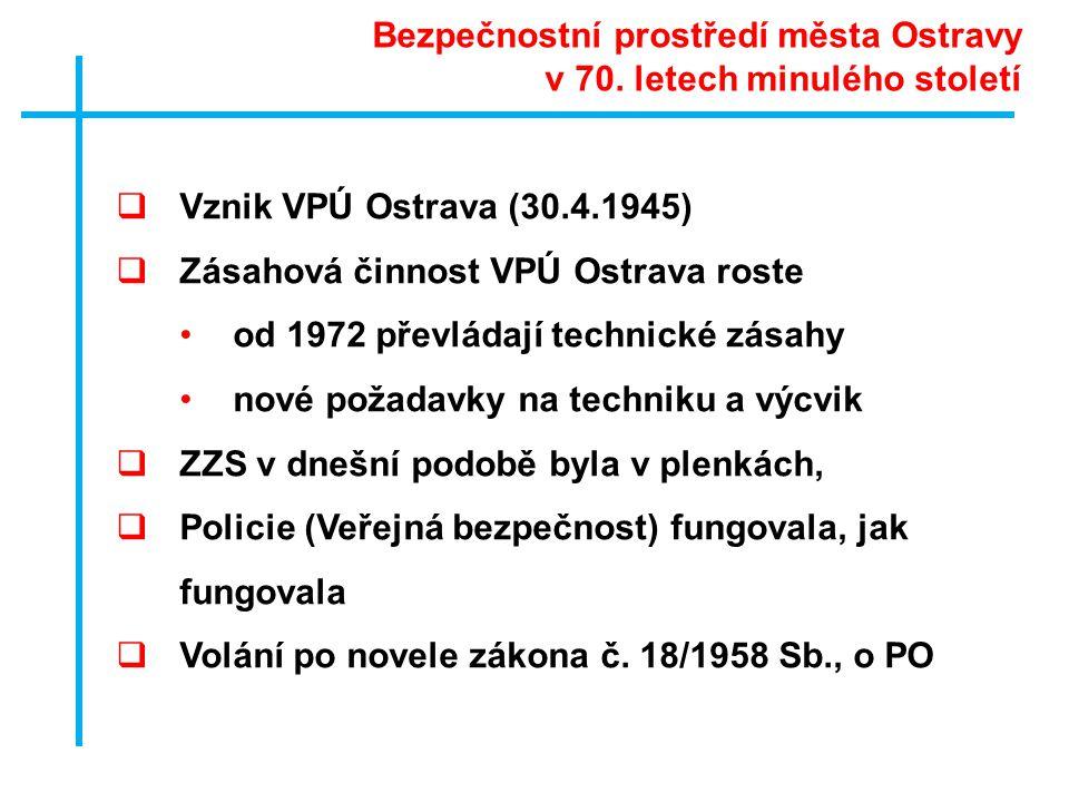  Vznik VPÚ Ostrava (30.4.1945)  Zásahová činnost VPÚ Ostrava roste •od 1972 převládají technické zásahy •nové požadavky na techniku a výcvik  ZZS v