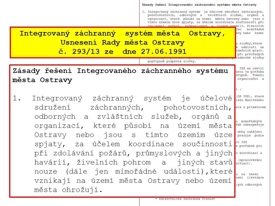 Integrovaný záchranný systém města Ostravy, Usnesení Rady města Ostravy č. 293/13 ze dne 27.06.1991 Zásady řešení Integrovaného záchranného systému mě