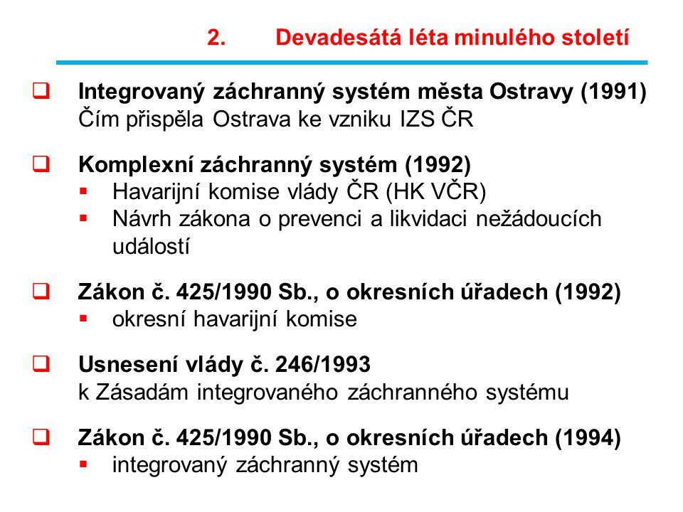  Integrovaný záchranný systém města Ostravy (1991) Čím přispěla Ostrava ke vzniku IZS ČR  Komplexní záchranný systém (1992)  Havarijní komise vlády