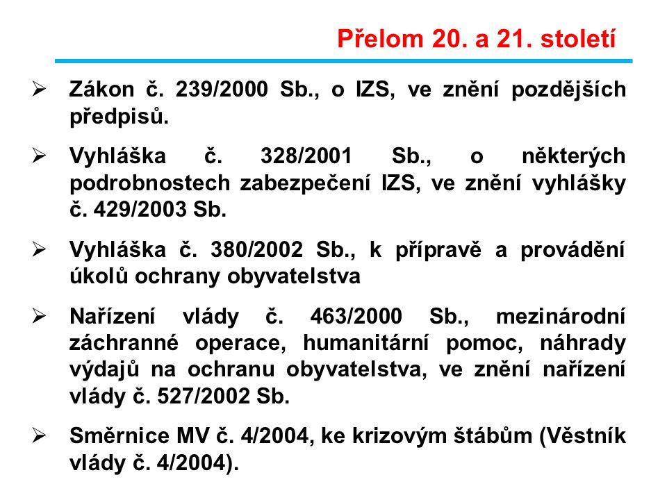 Zákon č. 239/2000 Sb., o IZS, ve znění pozdějších předpisů.  Vyhláška č. 328/2001 Sb., o některých podrobnostech zabezpečení IZS, ve znění vyhlášky