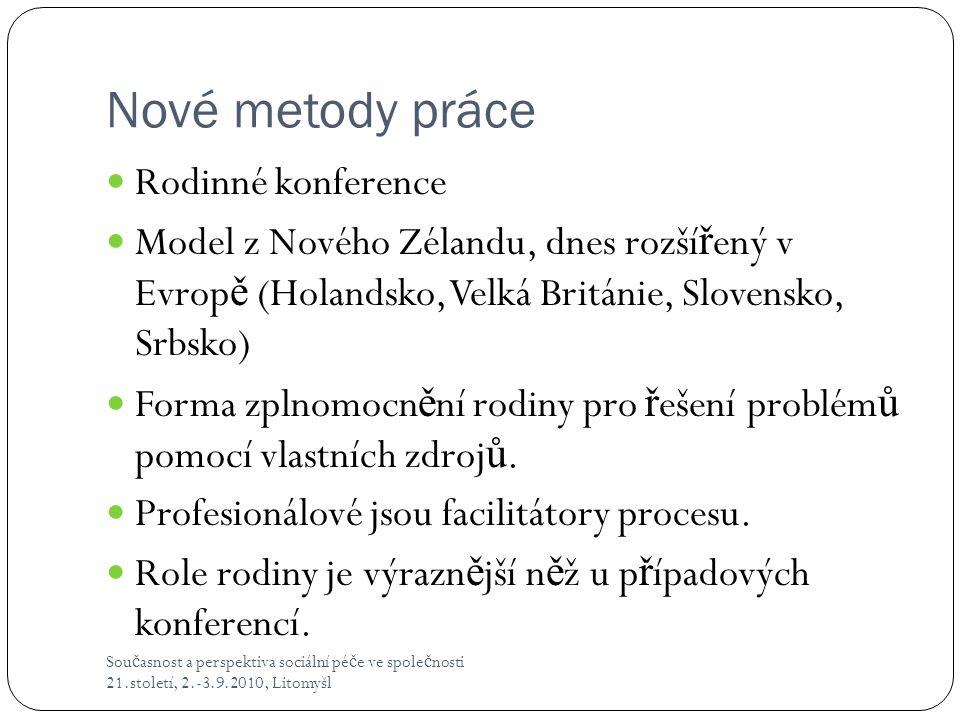 Nové metody práce Sou č asnost a perspektiva sociální pé č e ve spole č nosti 21.století, 2.-3.9.2010, Litomyšl  Rodinné konference  Model z Nového