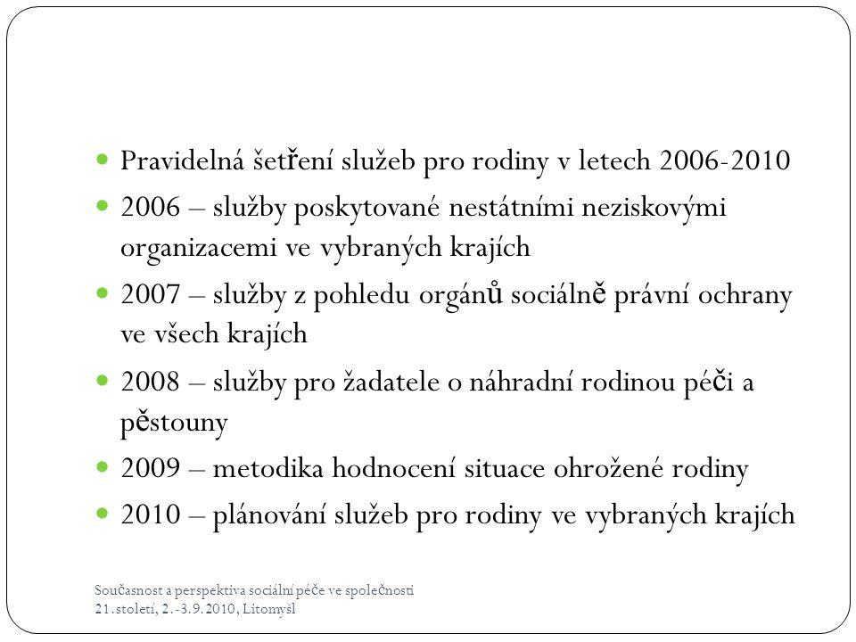 Sou č asnost a perspektiva sociální pé č e ve spole č nosti 21.století, 2.-3.9.2010, Litomyšl  Pravidelná šet ř ení služeb pro rodiny v letech 2006-2
