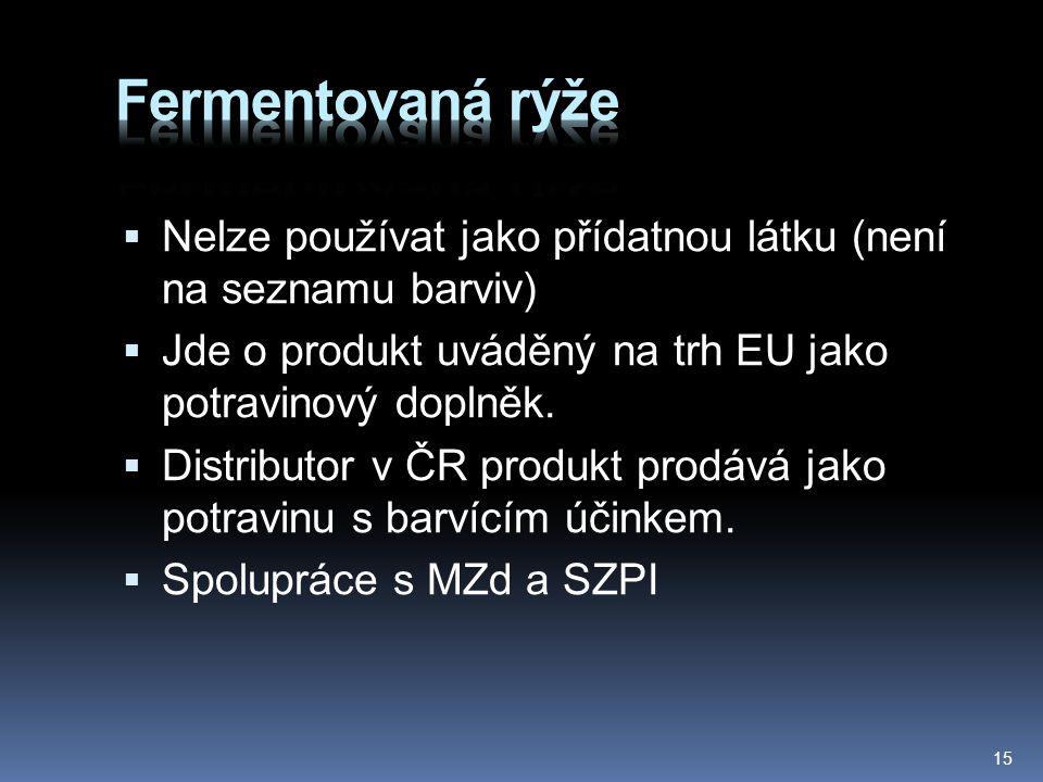  Nelze používat jako přídatnou látku (není na seznamu barviv)  Jde o produkt uváděný na trh EU jako potravinový doplněk.  Distributor v ČR produkt