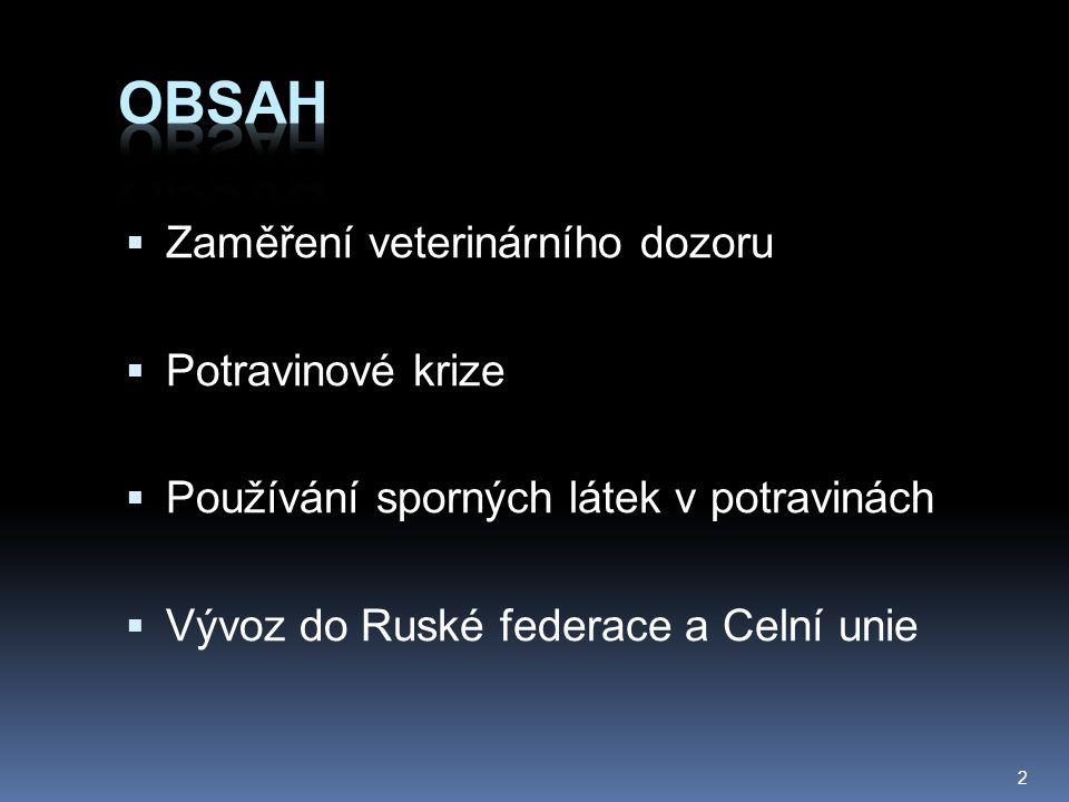  Zaměření veterinárního dozoru  Potravinové krize  Používání sporných látek v potravinách  Vývoz do Ruské federace a Celní unie 2