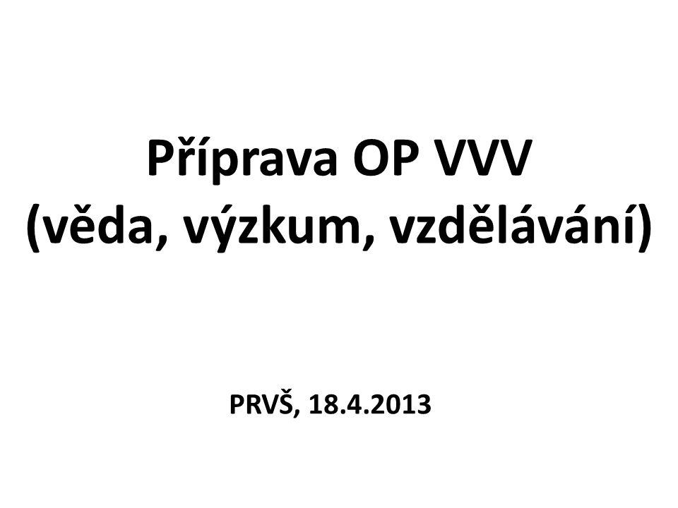 Příprava OP VVV (věda, výzkum, vzdělávání) PRVŠ, 18.4.2013