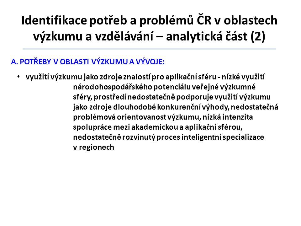 Identifikace potřeb a problémů ČR v oblastech výzkumu a vzdělávání – analytická část (2) A.POTŘEBY V OBLASTI VÝZKUMU A VÝVOJE: • využití výzkumu jako