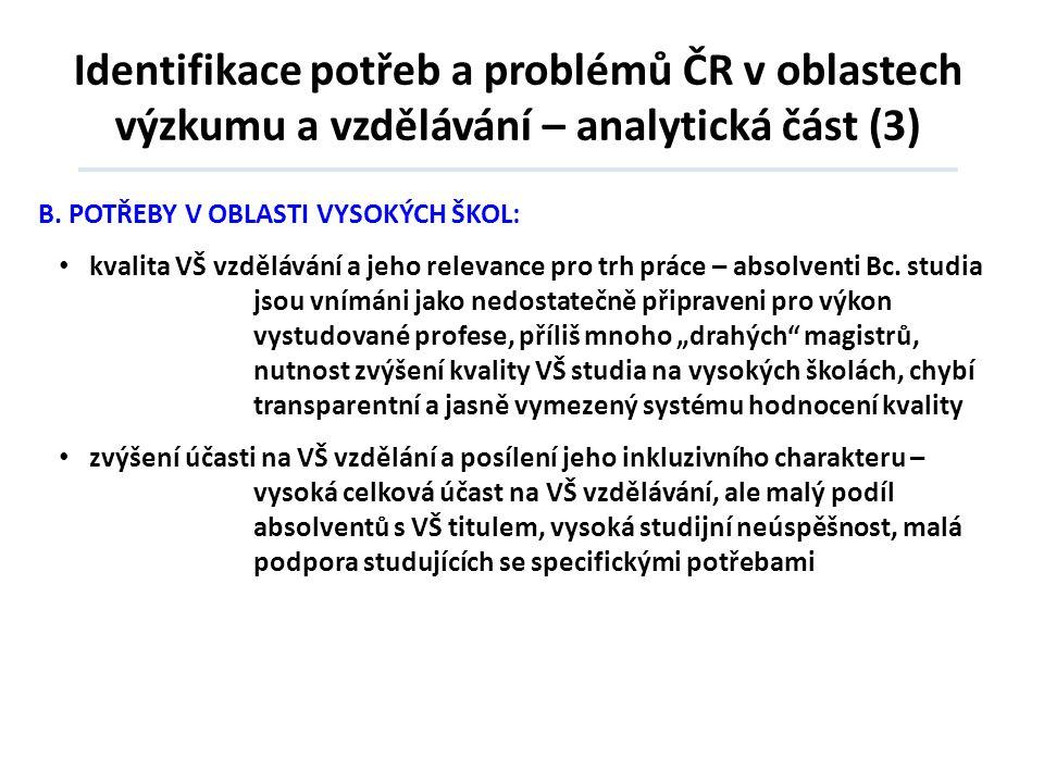 Identifikace potřeb a problémů ČR v oblastech výzkumu a vzdělávání – analytická část (3) B.POTŘEBY V OBLASTI VYSOKÝCH ŠKOL: • kvalita VŠ vzdělávání a