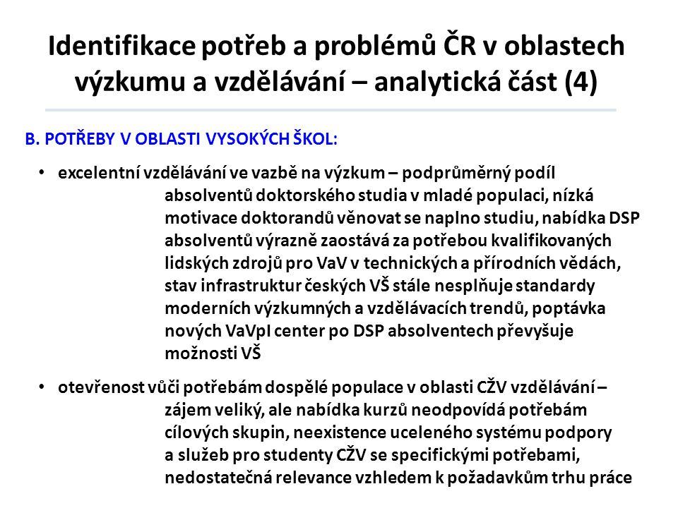 Identifikace potřeb a problémů ČR v oblastech výzkumu a vzdělávání – analytická část (4) B.POTŘEBY V OBLASTI VYSOKÝCH ŠKOL: • excelentní vzdělávání ve
