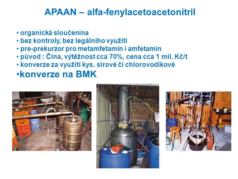 APAAN – alfa-fenylacetoacetonitril • organická sloučenina • bez kontroly, bez legálního využití • pre-prekurzor pro metamfetamin i amfetamin • původ :