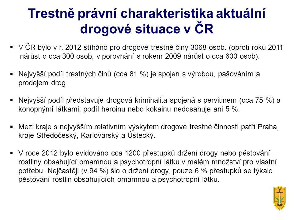  V ČR bylo v r. 2012 stíháno pro drogové trestné činy 3068 osob. (oproti roku 2011 nárůst o cca 300 osob, v porovnání s rokem 2009 nárůst o cca 600 o