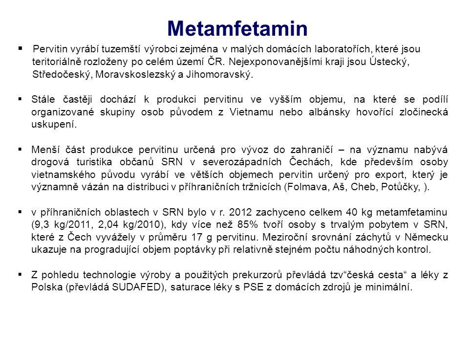  Pervitin vyrábí tuzemští výrobci zejména v malých domácích laboratořích, které jsou teritoriálně rozloženy po celém území ČR. Nejexponovanějšími kra