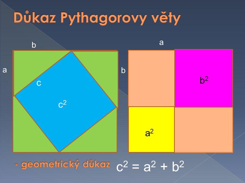 c2c2 b a a2a2 b2b2 a b c 2 = a 2 + b 2 c