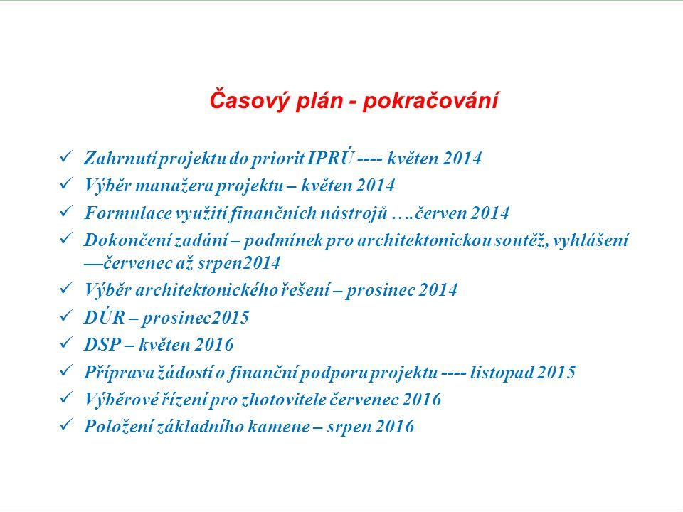 Časový plán - pokračování  Zahrnutí projektu do priorit IPRÚ ---- květen 2014  Výběr manažera projektu – květen 2014  Formulace využití finančních nástrojů ….červen 2014  Dokončení zadání – podmínek pro architektonickou soutěž, vyhlášení —červenec až srpen2014  Výběr architektonického řešení – prosinec 2014  DÚR – prosinec2015  DSP – květen 2016  Příprava žádostí o finanční podporu projektu ---- listopad 2015  Výběrové řízení pro zhotovitele červenec 2016  Položení základního kamene – srpen 2016