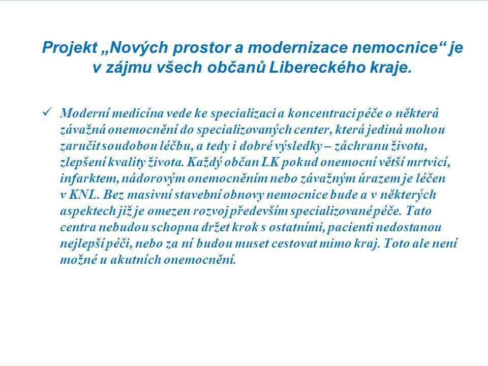 """Projekt """"Nových prostor a modernizace nemocnice"""" je v zájmu všech občanů Libereckého kraje.  Moderní medicína vede ke specializaci a koncentraci péče"""