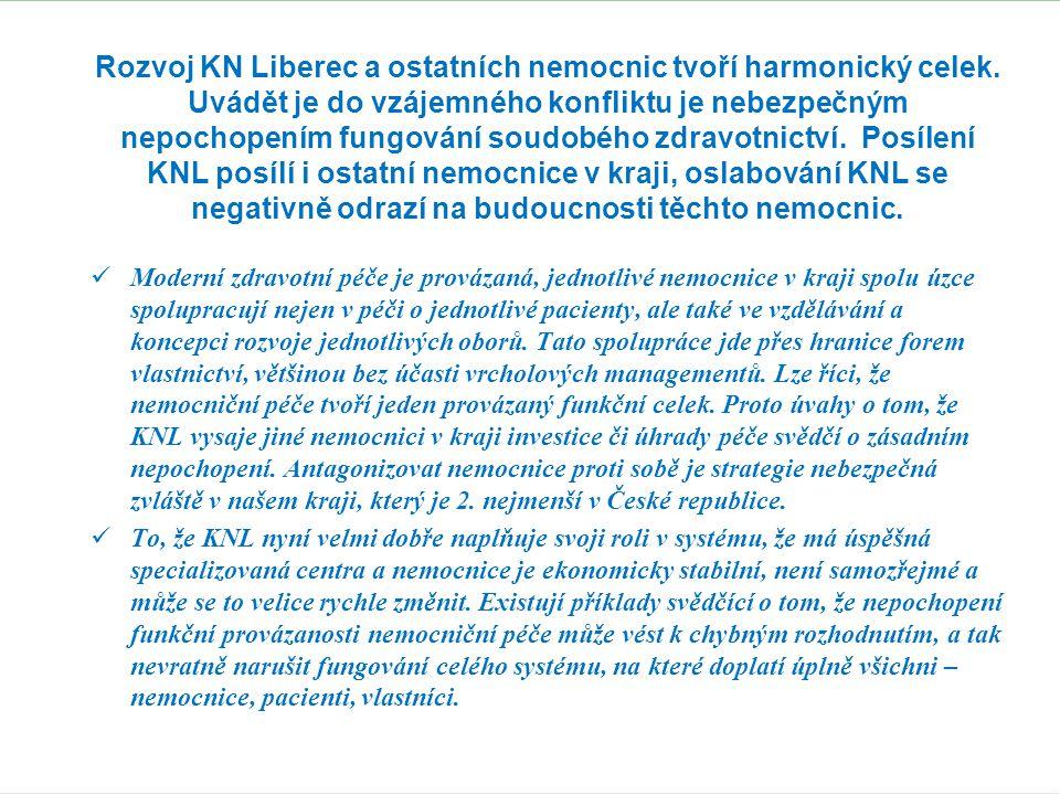 Rozvoj KN Liberec a ostatních nemocnic tvoří harmonický celek. Uvádět je do vzájemného konfliktu je nebezpečným nepochopením fungování soudobého zdrav