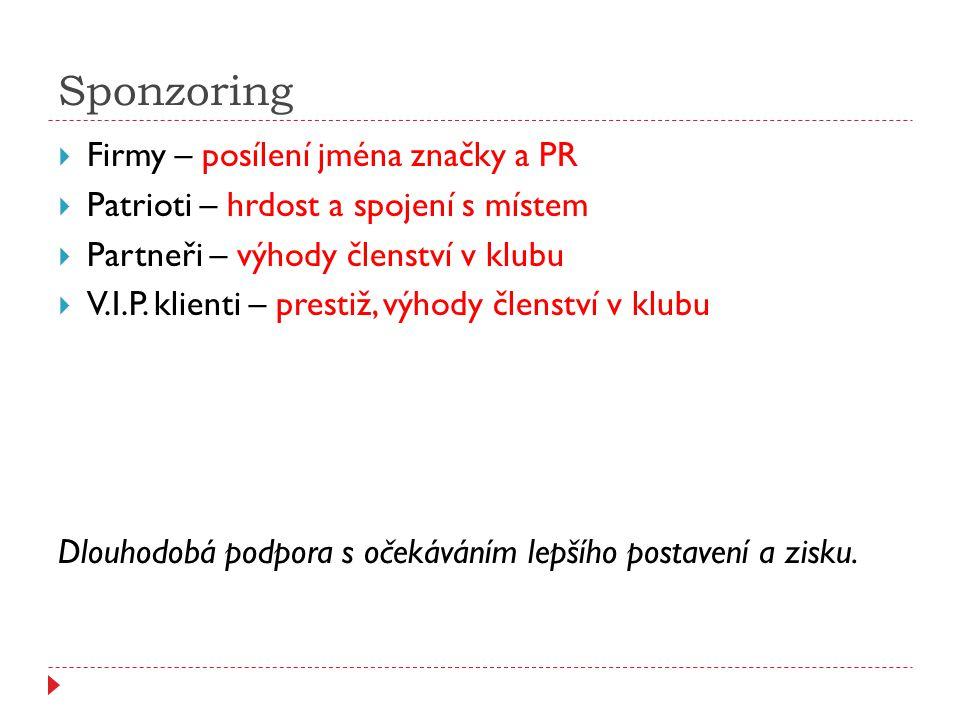 Sponzoring  Firmy – posílení jména značky a PR  Patrioti – hrdost a spojení s místem  Partneři – výhody členství v klubu  V.I.P. klienti – prestiž