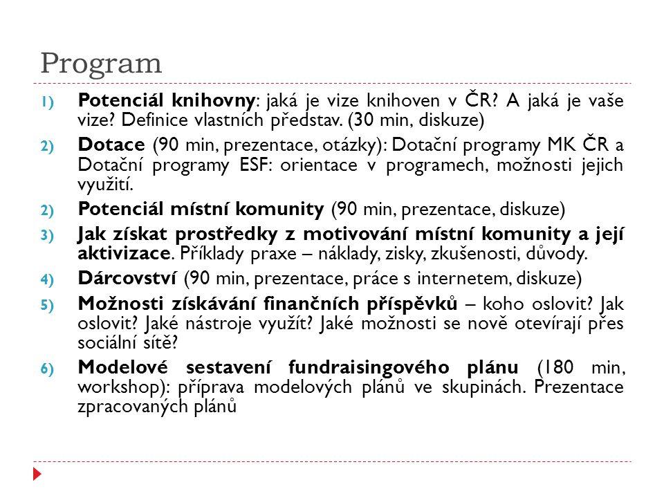 Program 1) Potenciál knihovny: jaká je vize knihoven v ČR? A jaká je vaše vize? Definice vlastních představ. (30 min, diskuze) 2) Dotace (90 min, prez