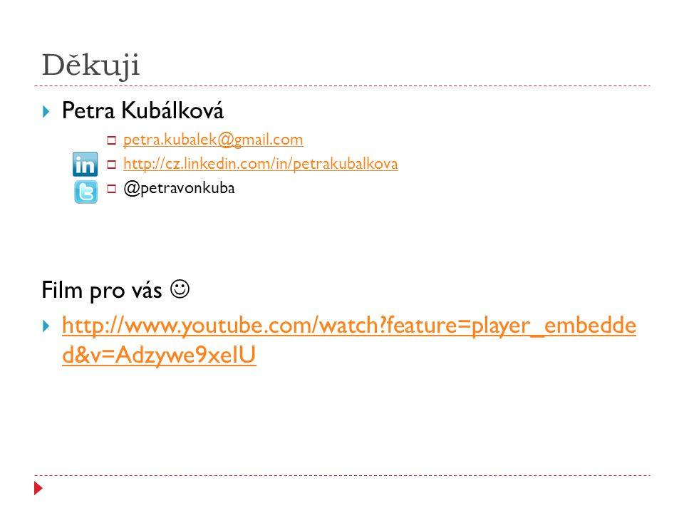 Děkuji  Petra Kubálková  petra.kubalek@gmail.com petra.kubalek@gmail.com  http://cz.linkedin.com/in/petrakubalkova http://cz.linkedin.com/in/petrak