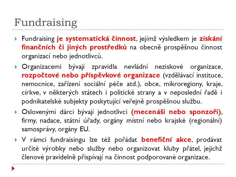 Fundraising  Fundraising je systematická činnost, jejímž výsledkem je získání finančních či jiných prostředků na obecně prospěšnou činnost organizací