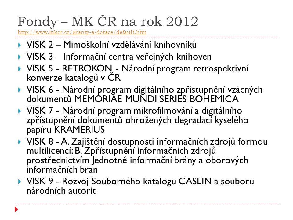 Fondy – MK ČR na rok 2012 http://www.mkcr.cz/granty-a-dotace/default.htm http://www.mkcr.cz/granty-a-dotace/default.htm  VISK 2 – Mimoškolní vzdělává