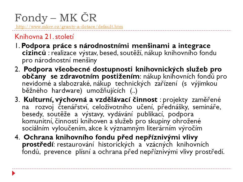 Fondy – MK ČR http://www.mkcr.cz/granty-a-dotace/default.htm http://www.mkcr.cz/granty-a-dotace/default.htm Knihovna 21. století 1. Podpora práce s ná