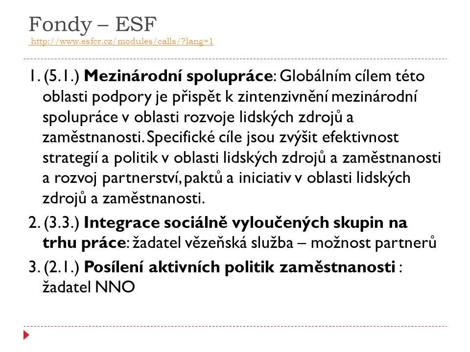Fondy – ESF http://www.esfcr.cz/modules/calls/?lang=1 http://www.esfcr.cz/modules/calls/?lang=1 1. (5.1.) Mezinárodní spolupráce: Globálním cílem této