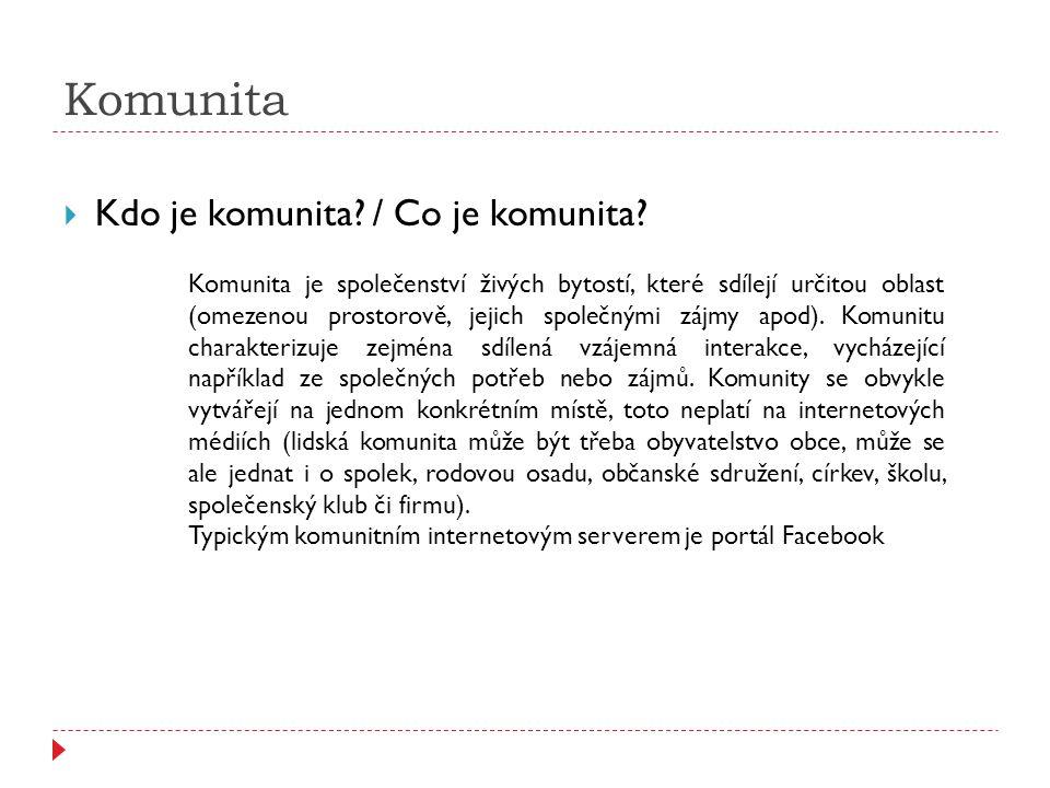 Komunita  Kdo je komunita? / Co je komunita? Komunita je společenství živých bytostí, které sdílejí určitou oblast (omezenou prostorově, jejich spole