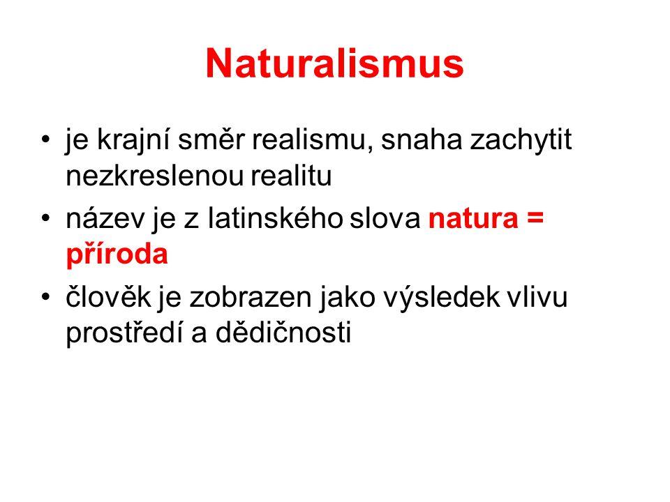 Naturalismus •je krajní směr realismu, snaha zachytit nezkreslenou realitu •název je z latinského slova natura = příroda •člověk je zobrazen jako výsledek vlivu prostředí a dědičnosti