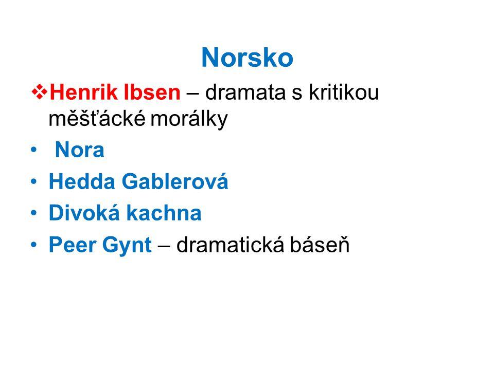 Norsko  Henrik Ibsen – dramata s kritikou měšťácké morálky • Nora •Hedda Gablerová •Divoká kachna •Peer Gynt – dramatická báseň