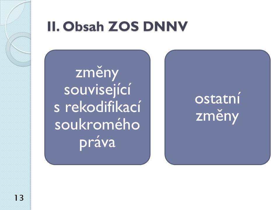 II. Obsah ZOS DNNV změny související s rekodifikací soukromého práva ostatní změny 13