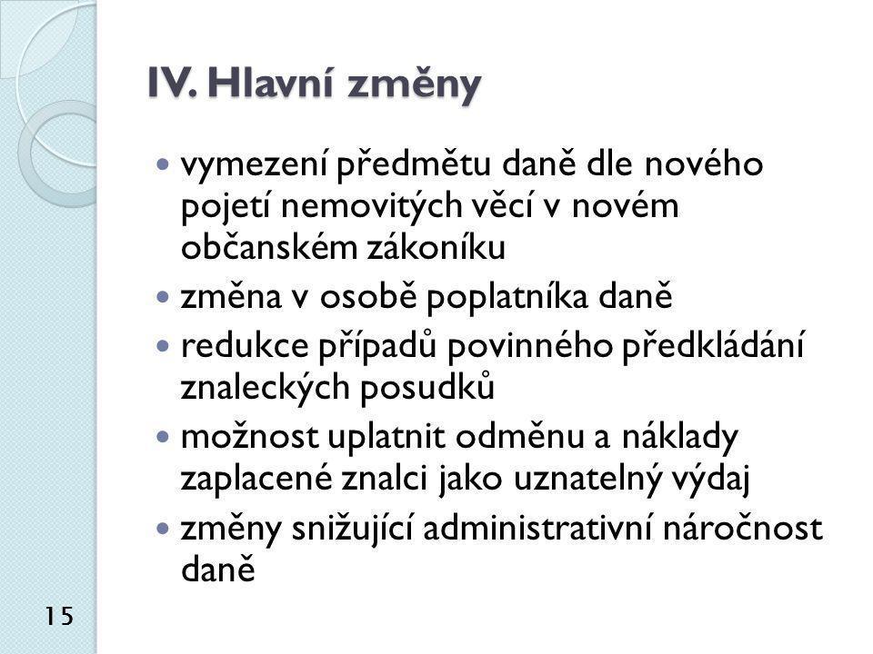 IV. Hlavní změny  vymezení předmětu daně dle nového pojetí nemovitých věcí v novém občanském zákoníku  změna v osobě poplatníka daně  redukce přípa