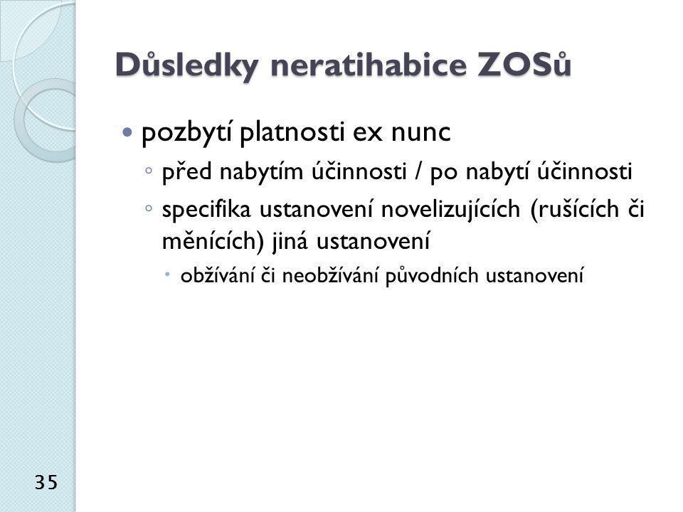 Důsledky neratihabice ZOSů  pozbytí platnosti ex nunc ◦ před nabytím účinnosti / po nabytí účinnosti ◦ specifika ustanovení novelizujících (rušících