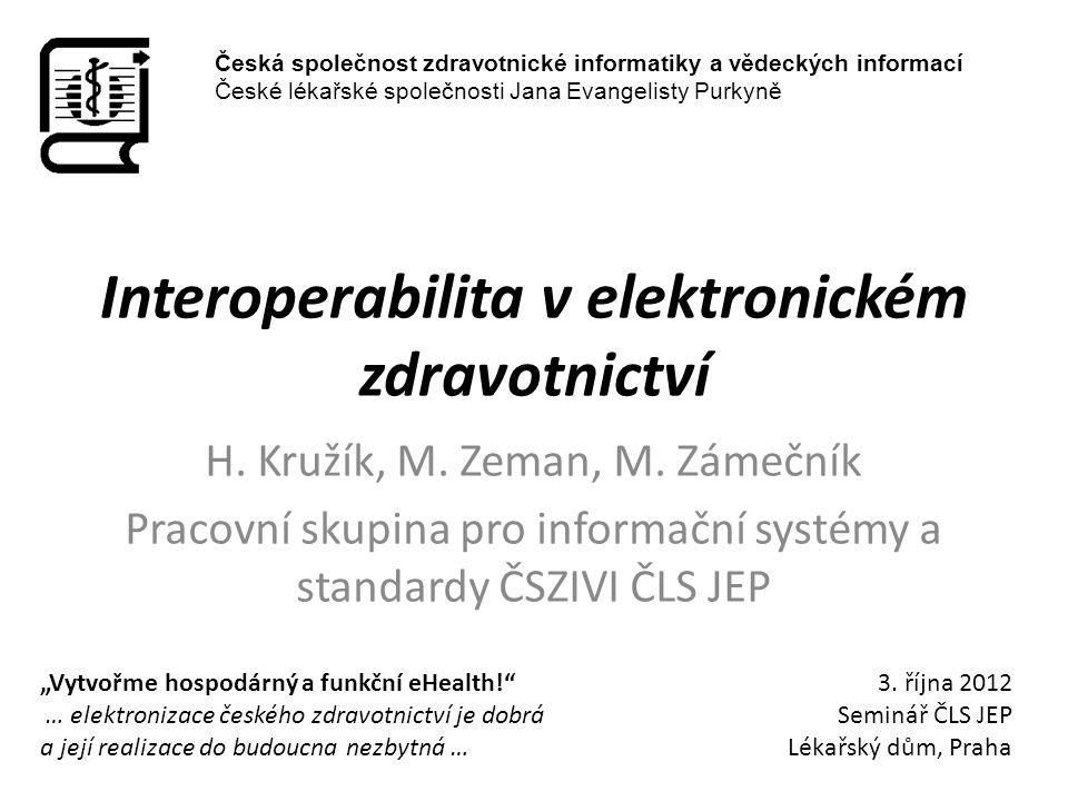 Interoperabilita v elektronickém zdravotnictví H. Kružík, M. Zeman, M. Zámečník Pracovní skupina pro informační systémy a standardy ČSZIVI ČLS JEP Čes