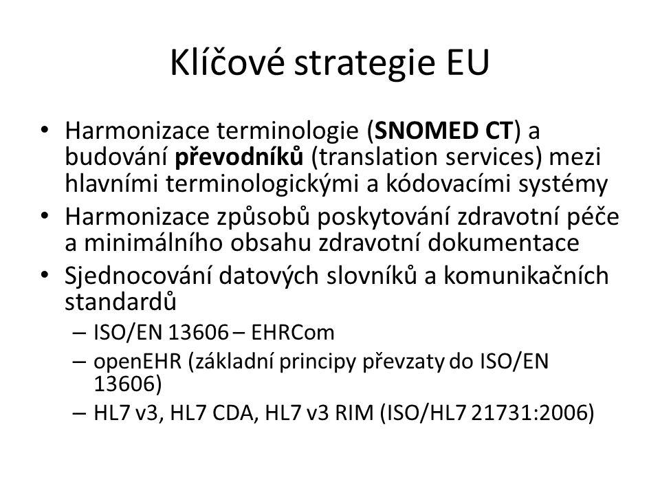 Klíčové strategie EU • Harmonizace terminologie (SNOMED CT) a budování převodníků (translation services) mezi hlavními terminologickými a kódovacími s
