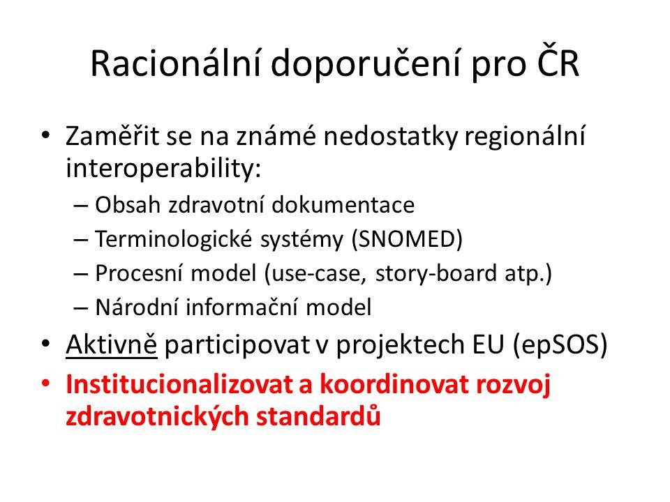 Racionální doporučení pro ČR • Zaměřit se na známé nedostatky regionální interoperability: – Obsah zdravotní dokumentace – Terminologické systémy (SNO